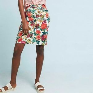 Anthropologie Maeve floral printed denim skirt